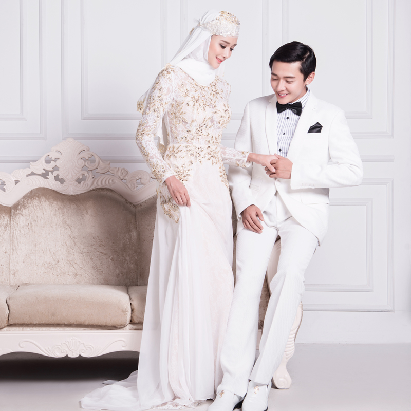 2016 Summer Sexy Chiffon A-Line Muslim Wedding Dress With Long Sleeve Gold Beaded High Neck Vestidos De Noiva ML127