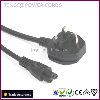 6 ft' (1.83M) UK BS 1363 to IEC 60320 C5, H05VV-F 3G0.75 mm2 Power Cords, (2.5A/250V~), Black