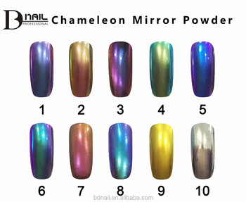 9d59d57ffe BD fábrica 10 color cromado Polvo de pigmento de efecto espejo para uñas