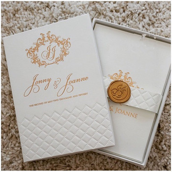 Gold Hot Stamp Foil Boxed Jas Plaid Embossed Pocketfold Wedding Invitations Hardover With Wax Seal Buy Hardcover Jas Plaid Wedding Invitation Hot Foil Embossed Wedding Invitation Card With Wax Seal Gold Hotfoil