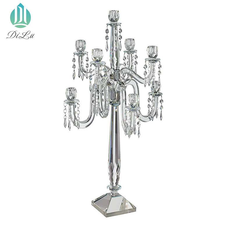 Wedding Centerpiece Decorations Long Stem 5 Arm Crystal Candelabra Glass Table Top Candle Holder