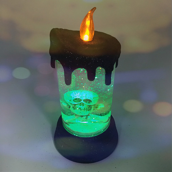 Battery Operated Electric Round Shape Flickering Led Acrylic Halloween Decoration Liquid Glitter Light Skull Candle