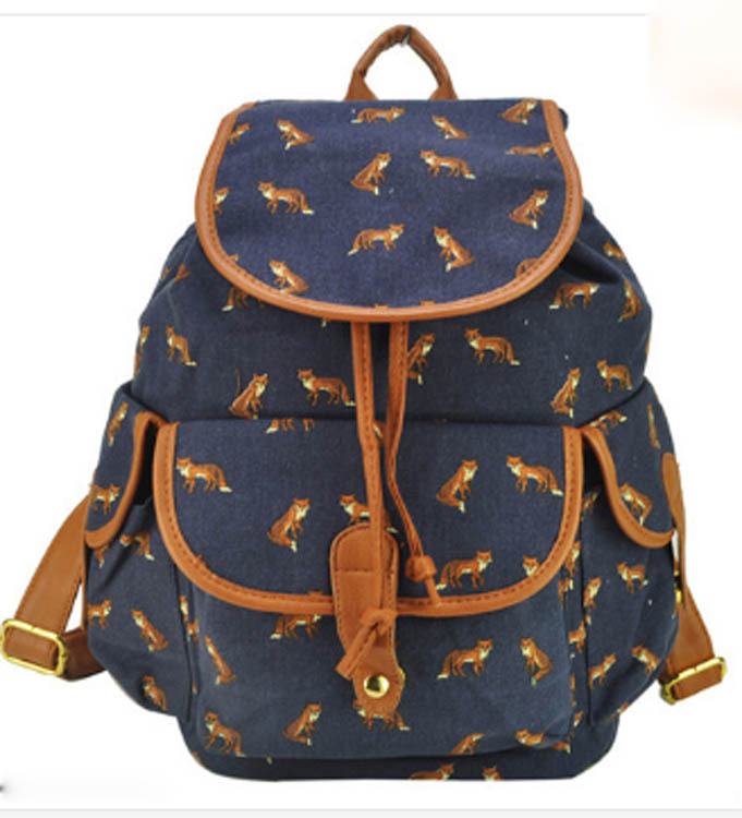 99a6b552dcb7 Hot sale Printed College New Fashion Girls  School Bag Canvas Backpack