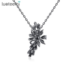 LUOTEEMI Luxury Marquise Cut Black Cubic Zirconia Pendant For Women Charm Necklace Jewellery