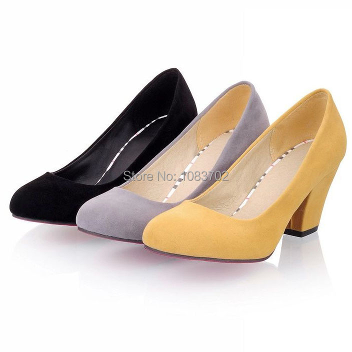 HOT! NEW! Plain Scrub Round Toe Thick Heel Women Pumps Comfortable Red Bottom Ladies Office Heels Elegant Women High Heels Shoes