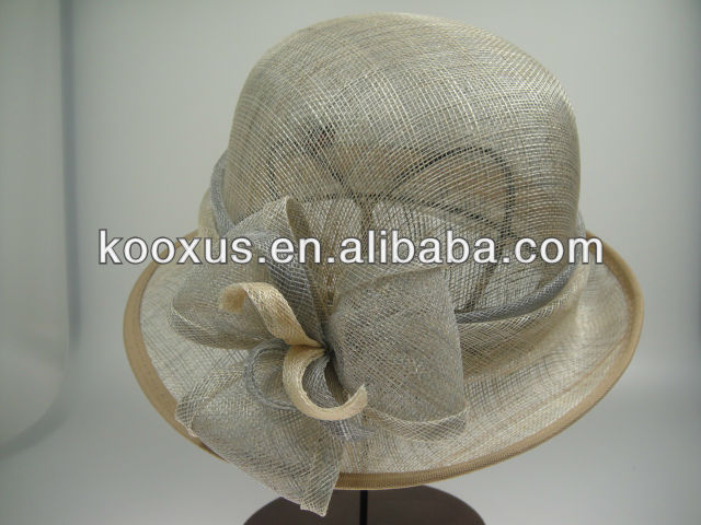 New millinery sinamay church hat with feather