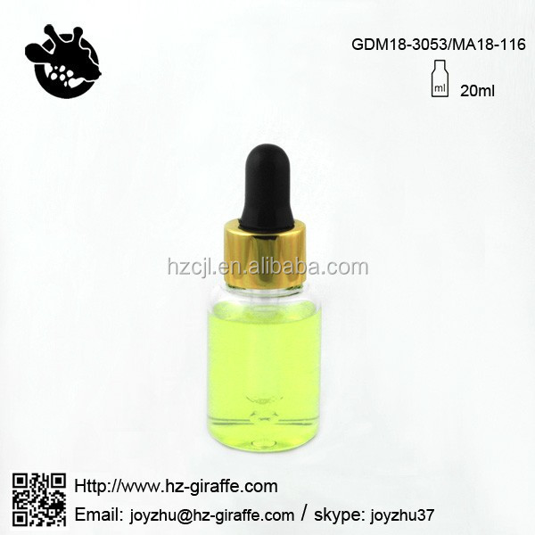 Hot sale transarent clear tube 20ml glass cosmetic serum dropper bottle