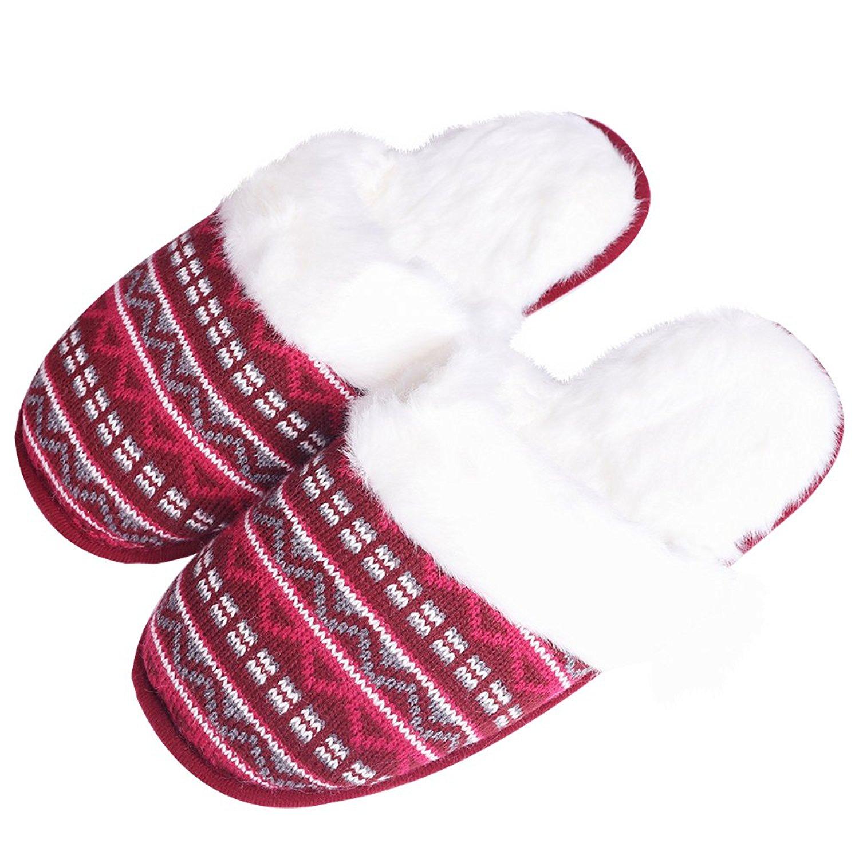 iisutas Women's Comfort Memory Foam Slippers, Wool-Like Plush Fleece Lined House Shoes