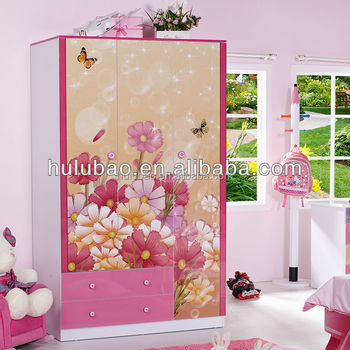Colorful MDF Kids Wardrobe Cabinet Used Bedroom Furniture For Sale 962A
