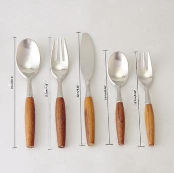 Stainless Steel Flatware Set Knife Soups Salad Fork Teaspoon With Creative Wood Handle Cutlery