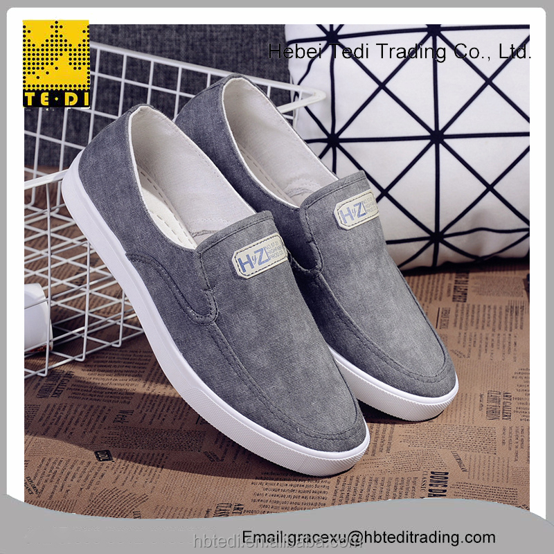 2017 fashion canvas boys leather <strong>flat</strong> shoes in customized logo shoes men
