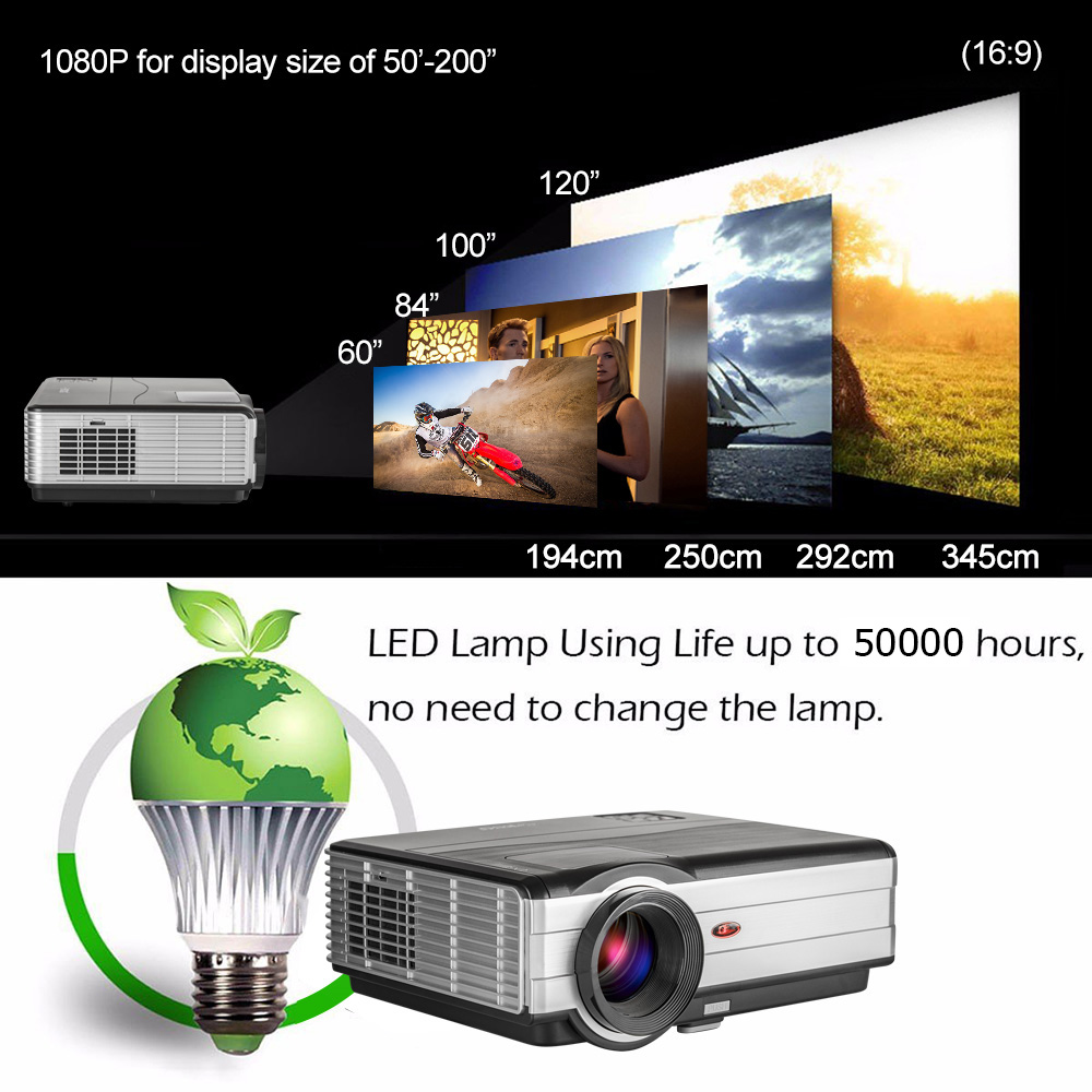 HD 3000Lumens led lamp lcd projector wired miracast airplay