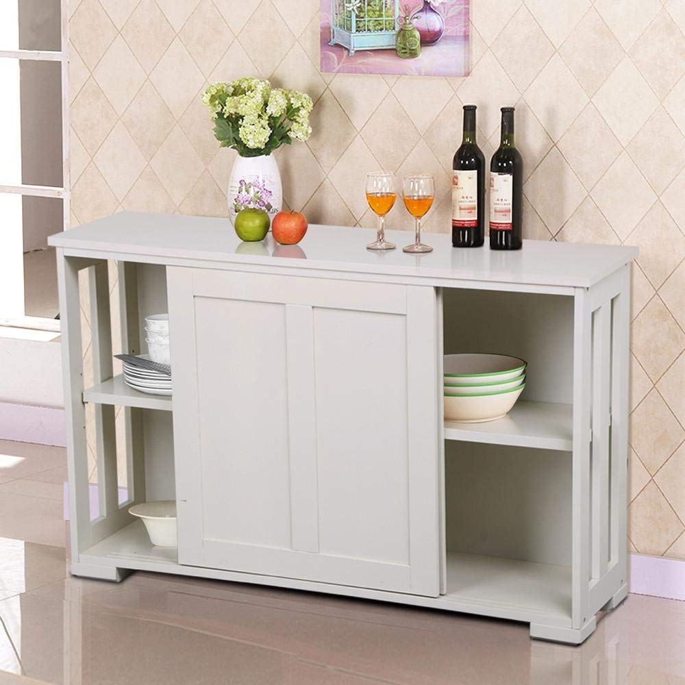 Antique White Stackable Sideboard Buffet Storage Cabinet with Sliding Door Kitchen Dining Room Furniture, Durable & Sturdy, Features with 2 Sliding Doors & 1 Inner Adjustable Shelf, Stylish & Chic