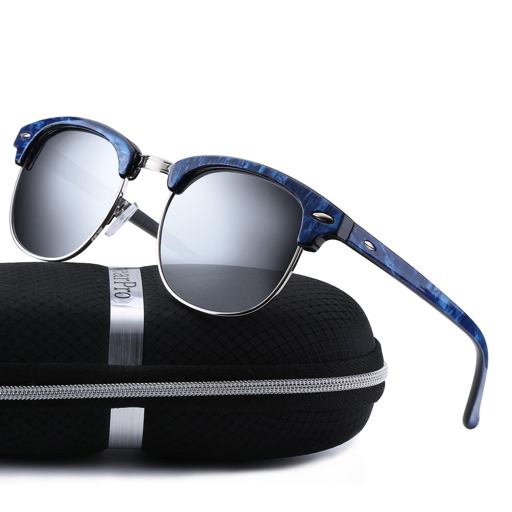 49276614953 Get Quotations · Clubmaster Sunglasses for Men Women - wearPro Retro Semi-Rimless  Polarized Sun Glasses WP1006