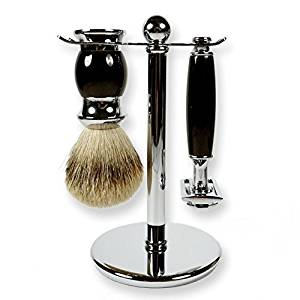 3 Piece Kaliandee Shaving Set with Silvertip Brush in Chrome and Ebony, Fiore Razor, and Chrome Stand