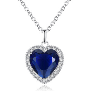 2018 Sapphire Blue Zircon Ocean Heart Pendant Necklace High-grade Zircon Necklace