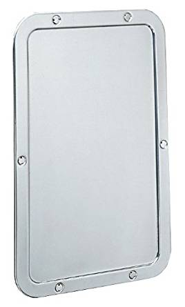 "Bobrick 942 Stainless Steel 430 Frameless Mirror, Bright Finish, 11-1/4"" Width x 17-1/4"" Height x 1/4"" Depth"