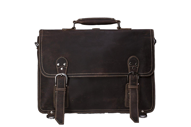 ROCKCOW Men's Top Quality Full Grain Leather Briefcase / Backpack / Shoulder Bag / Messenger Bag / Satchel Fit 15 Inch Laptop
