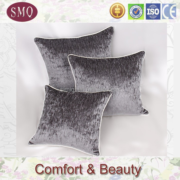 cut work velvet sofa gray chenille jacquard cushion cover