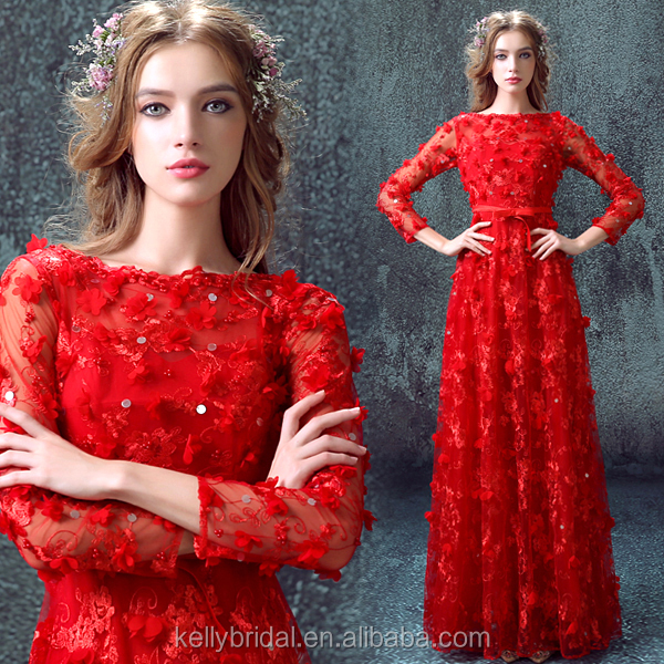 ZM 16092 wedding dresses for bridal with long sleevese design and 3D flower art-work Sexy red prom gown