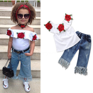Teenage Girls Clothes Off shoulder Crop Tops and Denim Pants 2PCS Summer Clothes 2018 Casual Baby Boutique Clothing