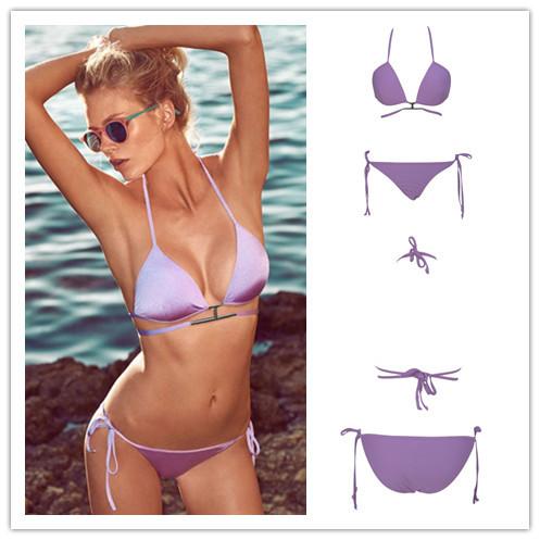 c09409c7507aa Get Quotations · 2015 Sexy Purple Bandage Triangl Swimwear Bikini Set Push  up Swimsuit Maillot De Bain Bikinis Brazilian