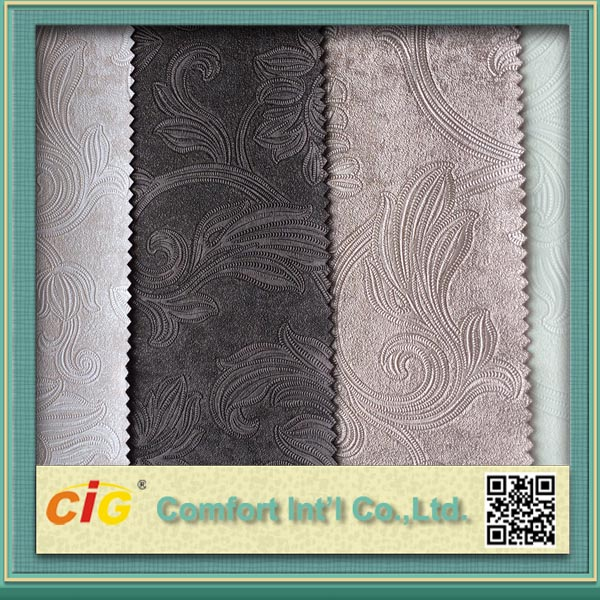 China embossed synthetic leather fabric for sofa and handbags