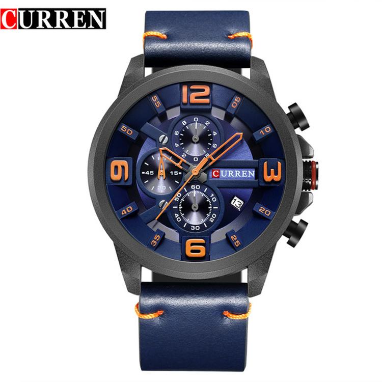 CURREN 8288 Brand Luxury Sports Chronograph Quartz Men Watches Fashion  Casual Wristwatches For Leather Relogio Masculino 7b468c761e9