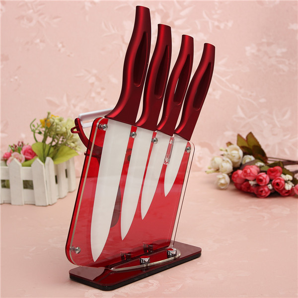 New Arrival Ceramic Knife Set 6 5 4 3 With Peeler And Acrylic Knife Holder Stand Kitchen Knives Cooking Tools Beauty Gift Red