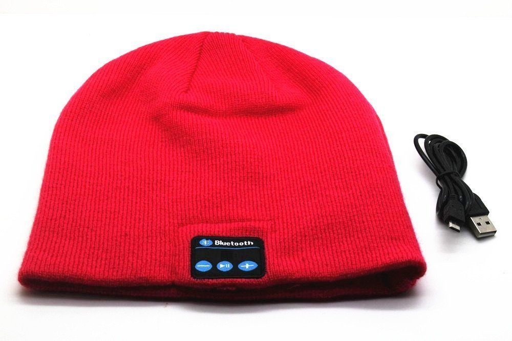 BearsFire® Fashion Wireless Bluetooth Knit Hat Receiver Headphone Speaker Microphone Beanie Hat Cap Headphone Headset Earphones MP3 Speaker Music Player for Men Women Gift (Dark Red)