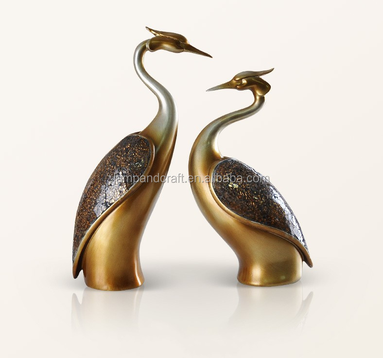 2016 New Design Animals Statues Couple Swans Wedding Decoration For Home Decor Sculptures With Gold Bronze