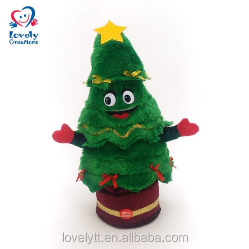 "15"" 2017 Hot Product Singing And Dancing Soft Plush Christmas Tree Decoration Toys"