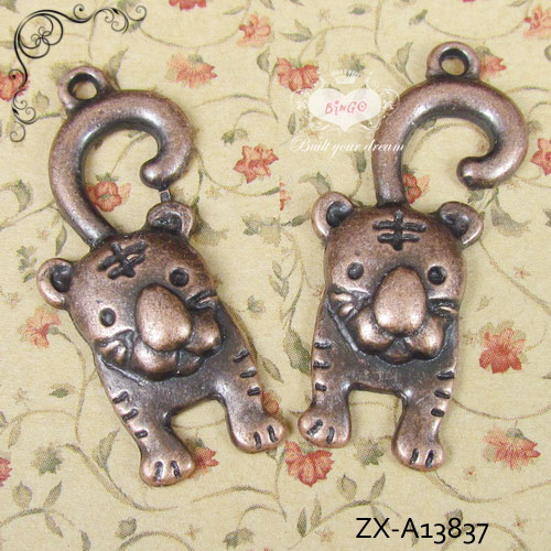 Zinc Alloy Animal Charms Cute Tiger With Antique Copper Plate