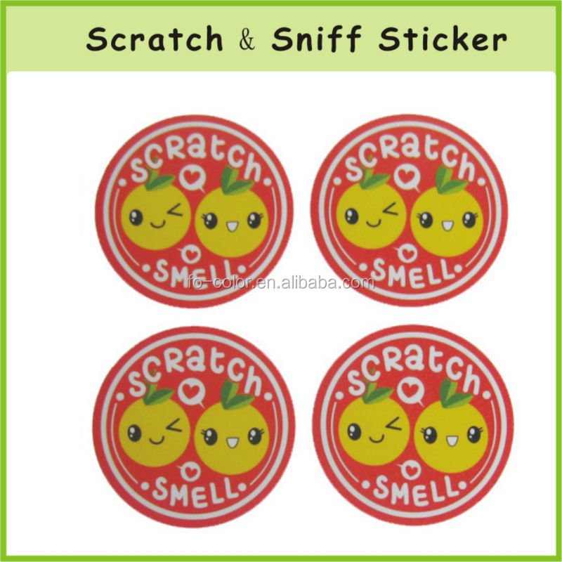 Cute Screen Printed Scratch and Sniff Stickers Label OEM