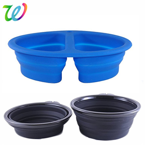silicone collapsible dog cat bowl with plastic handle