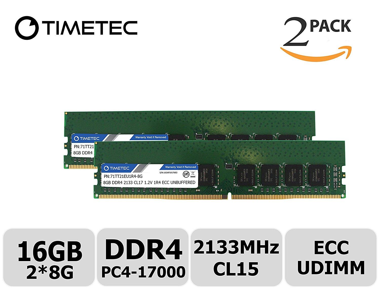 Timetec Hynix IC 16GB Kit (2x8GB) DDR4 2133MHz PC4-17000 Unbuffered ECC 1.2V CL15 1Rx4 Single Rank 288 Pin UDIMM Server Memory Ram Module Upgrade (16GB Kit (2x8GB))