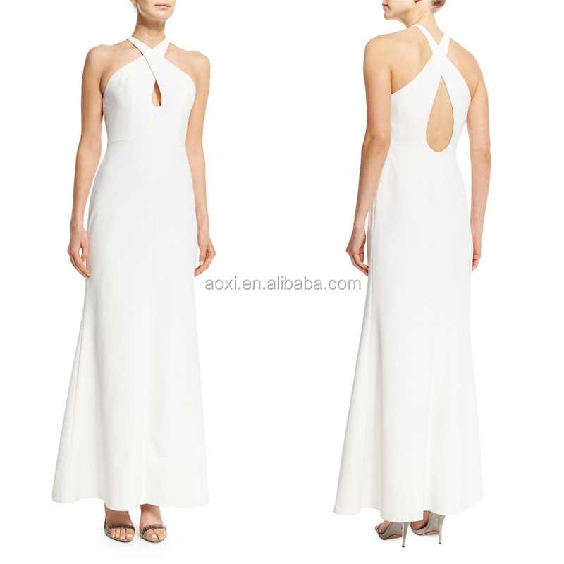 China manufacturer sleeveless twisted-neck keyhole gown women sheer white evening dress