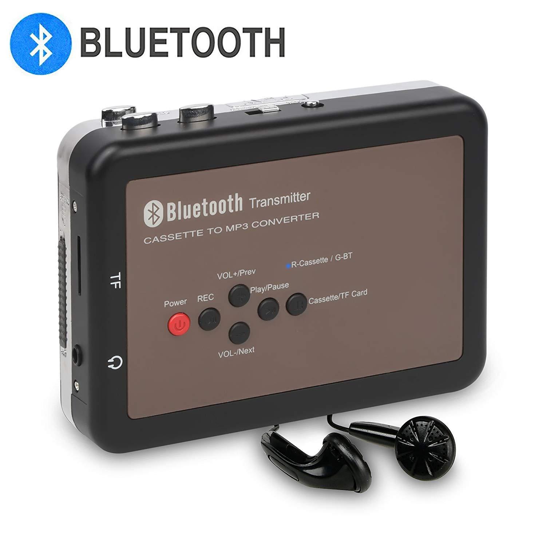 DIGITNOW Cassette Player-Portable Digital Bluetooth Tape Cassette Player-Cassette to Mp3 Converter for Walkman Cassette Audio Music- Cassette Recorder with Earphones