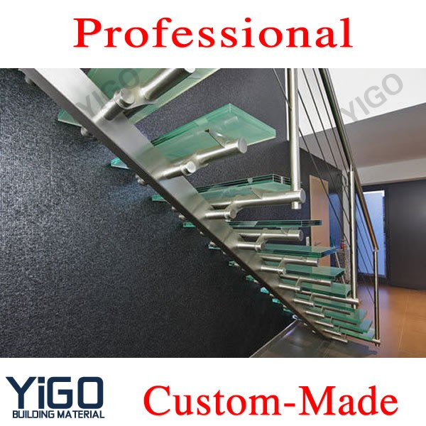 Glass staircase price / used metal stairs/ indoor glass stairs made in China