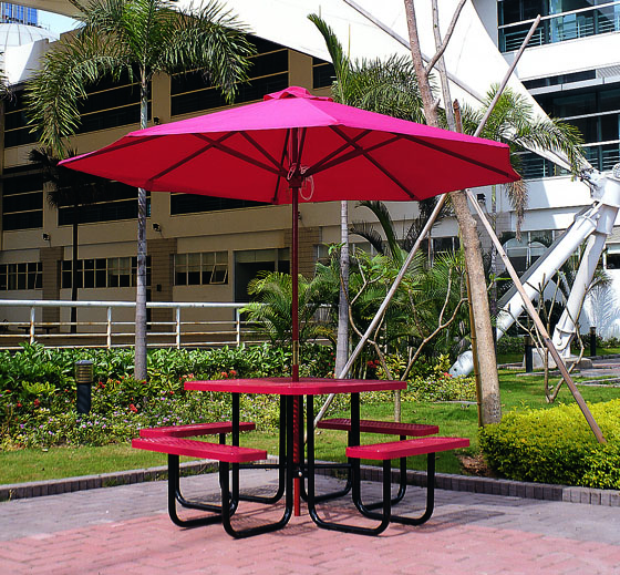 Metal Garden Picnic Table Bench With UmbrellaPatio Table With - Metal picnic table with umbrella