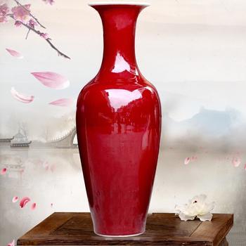 Large Red Glazed Porcelain Floor Vase For Indoor Home Decor Buy