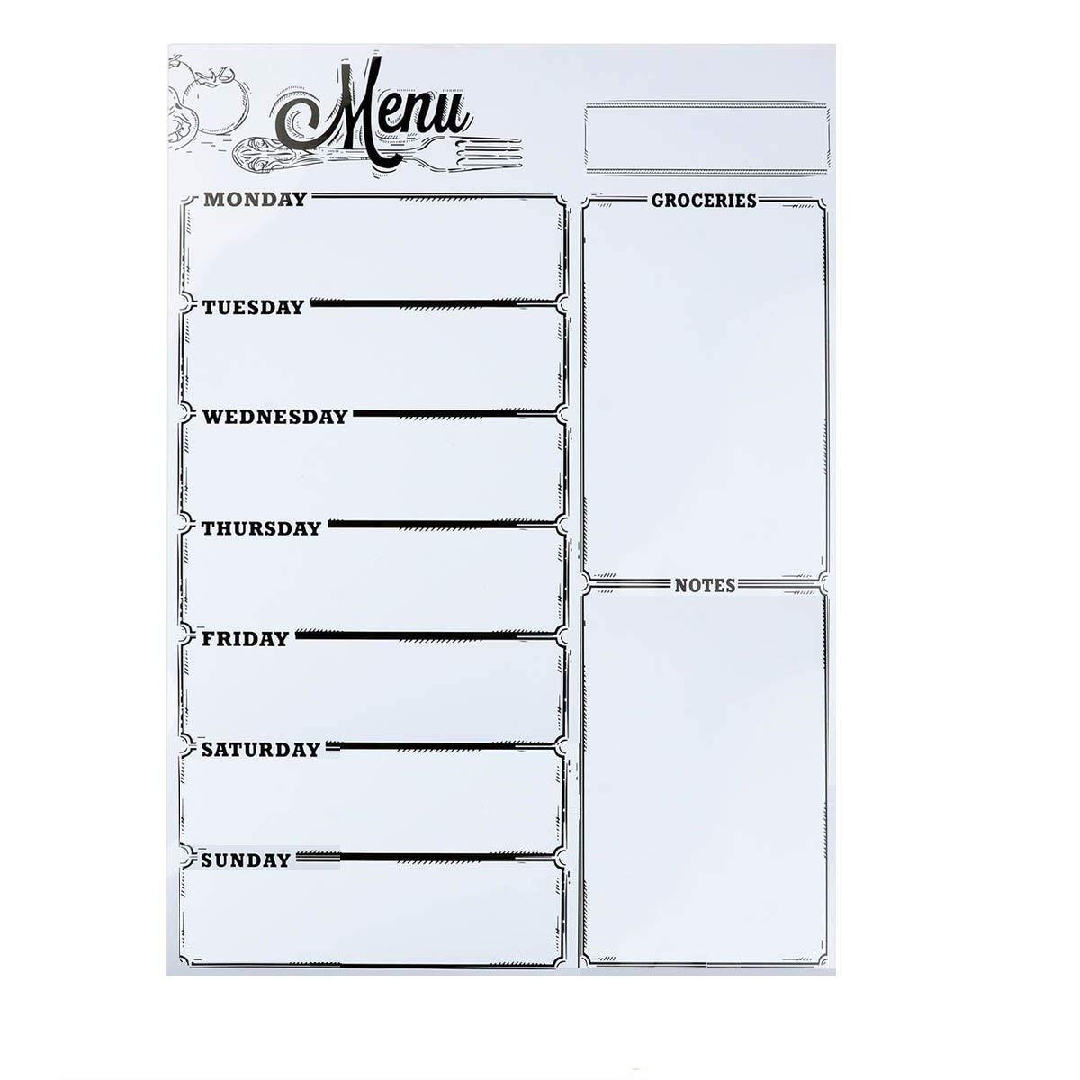"Weekly Board Loftstyle Magnetic Refrigerator Chalkboard Weekly Menu Meal Planner Dry Erase Board For Refrigerator Dinner List Note Schedule Board Shopping List Memo Board 16""X 12"""
