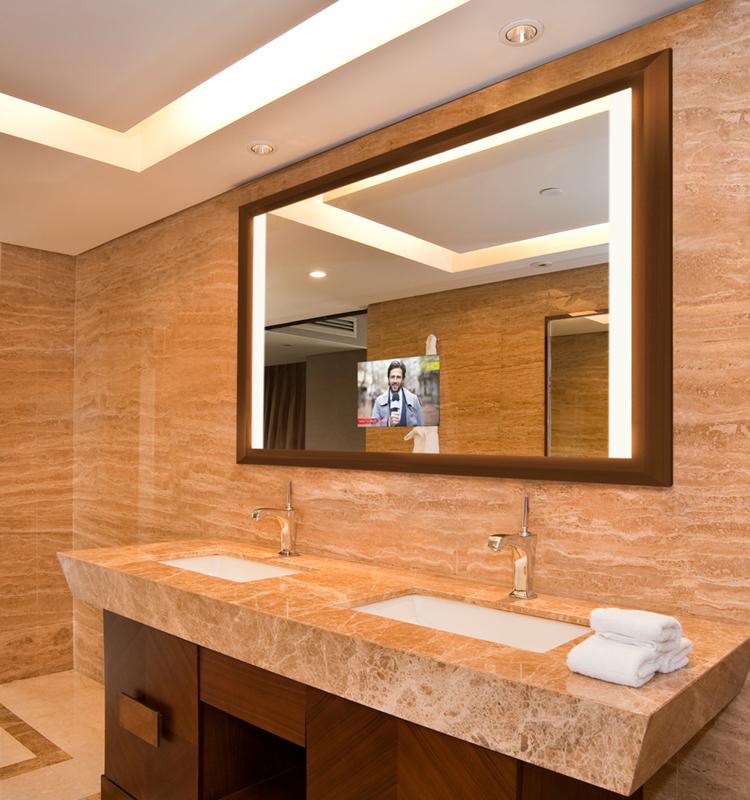 Hôtel Salle De Bains Téléviseur Intelligent À Écran Tactile Intégré Led  Miroir D\'éclairage - Buy Tv Intelligente D\'écran Tactile De Salle De ...