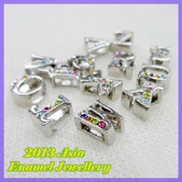 Rhinestone Metal Slider Charms #1961