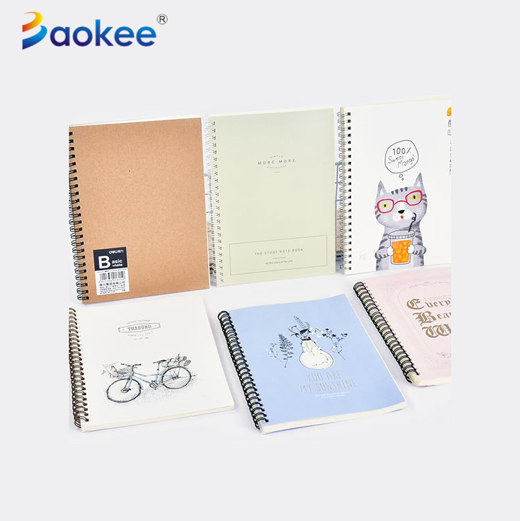 Promotional spiral notebook with ballpoint pen, kraft paper cover notebook