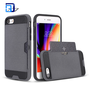2 in 1 shockproof phone case fluff paint back cover case with card slot holder cell phone cover for iphone 8