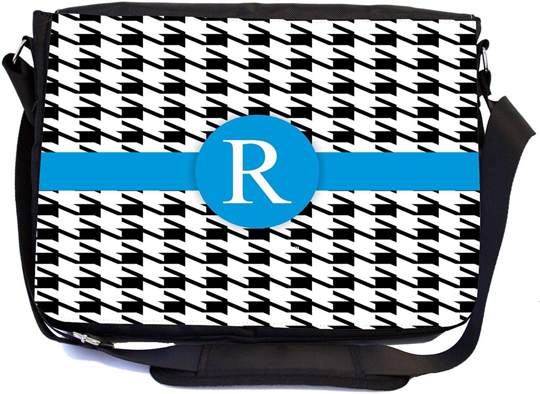 "Rikki Knight® Letter ""R"" Lime Green Houndstooth Monogram - SuperStrong Messenger Bag - School Bag - with padded pockets for Laptops & Tablets up to 14.5"" Idea for School or College (UKBK Design)"