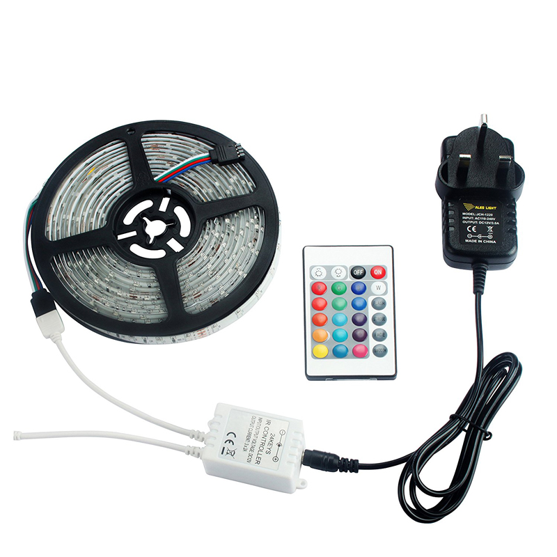 24Key IR Remote +2A UK Plug Power Supply 16.4ft 5M Waterproof 2835 <strong>RGB</strong> 270 Led Strip Light