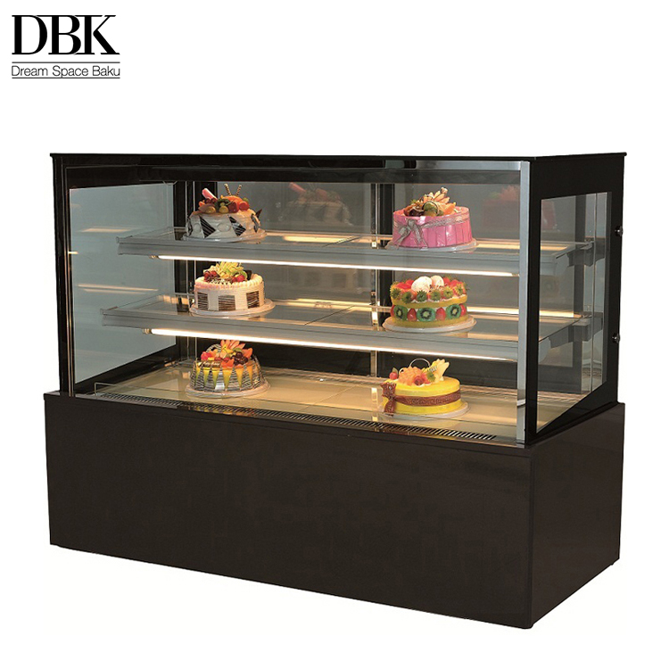 Easy operation new product cake display showcase square countertop cake display cabinet
