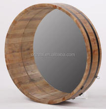 American style wooden vintage framed round wall mirror